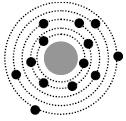 На рисунке изображены схемы четырех атомов.  Черными точками обозначены электроны.  Какая схема соответствует атому...